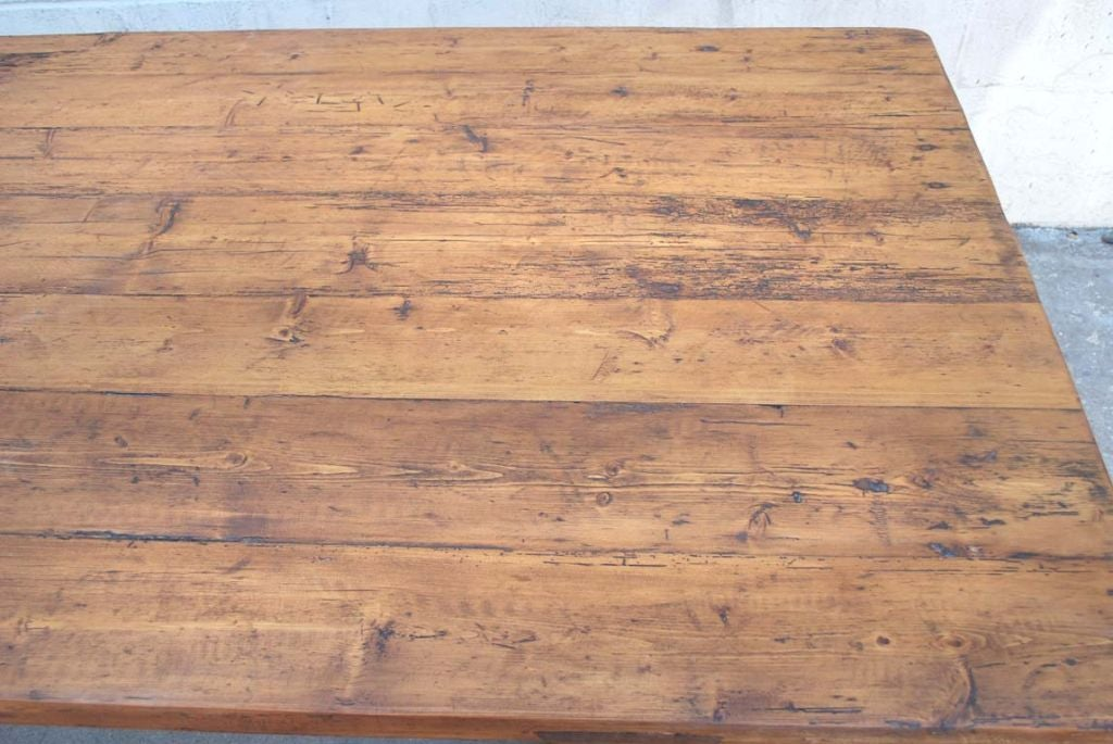 Contemporary Trestle Table in Vintage Pine, Custom Made by Petersen Antiques For Sale