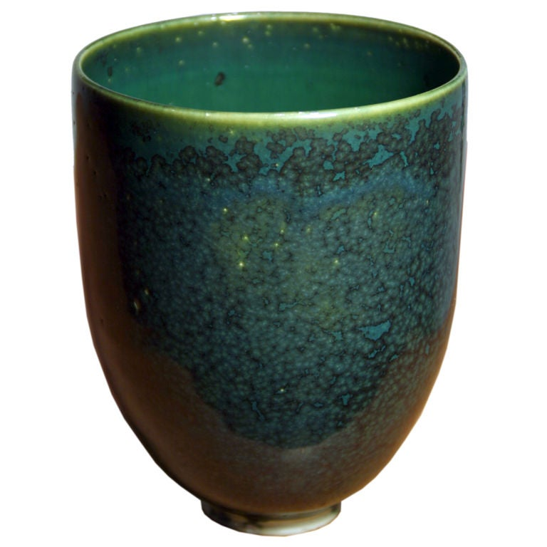Beautiful blue green glaze cup by laura andreson at 1stdibs
