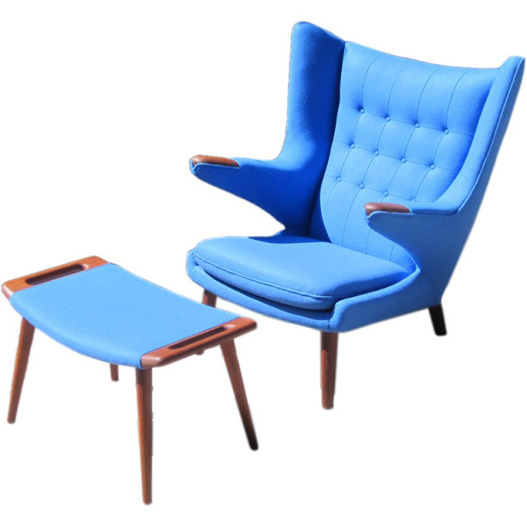 Iconic papa bear chair and ottoman by hans j wegner at Iconic chair and ottoman