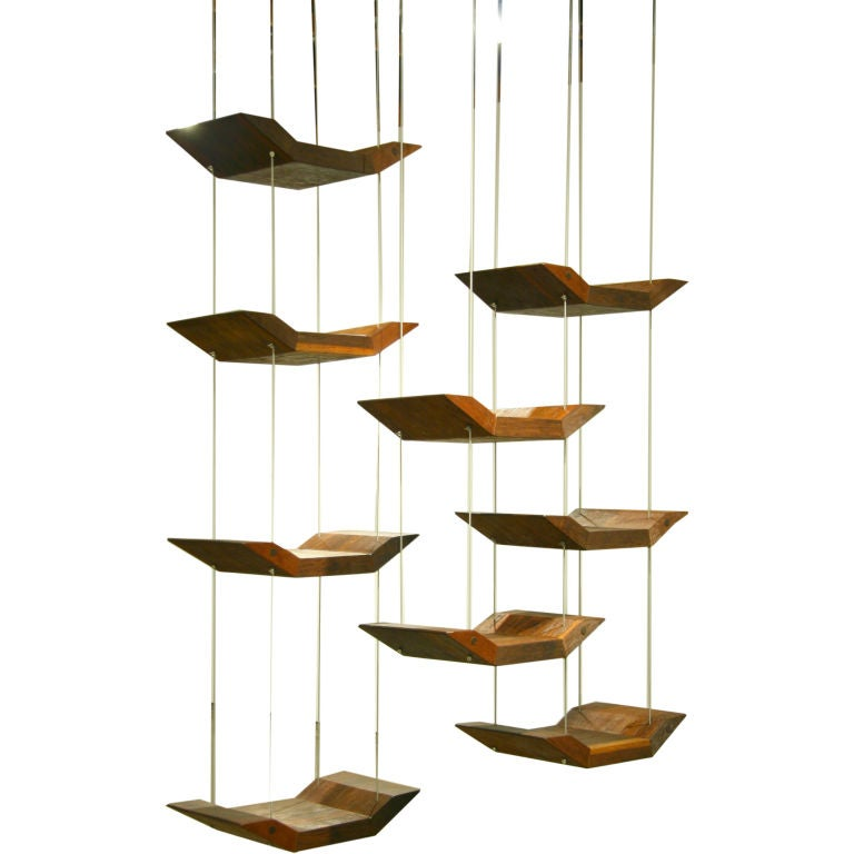 Adjustable hanging shelves by zanini de zanine at 1stdibs for How to make a hanging bookshelf