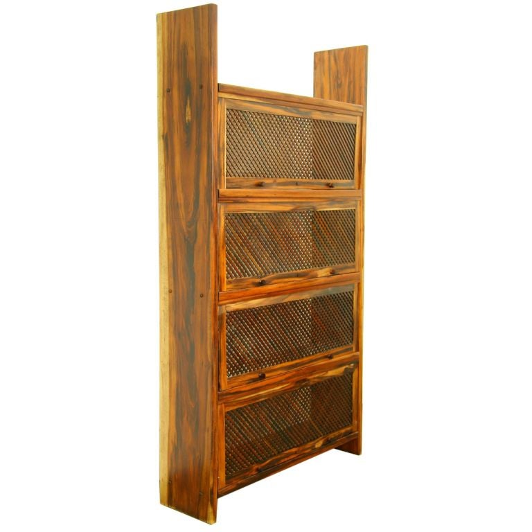 Rosewood Lattice Bookshelves