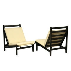 Pair of Canvas Lounge Chairs by Bernt Petersen