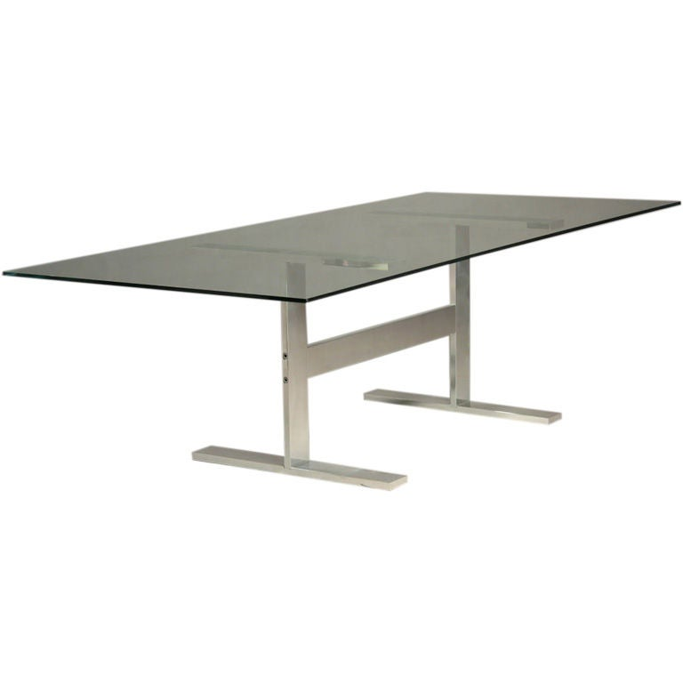 Solid polished aluminum dining table with large glass top for Large glass table top