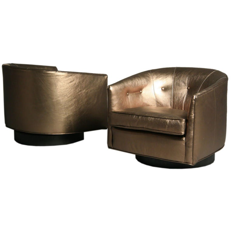 Pairofbronzeleathertubchairs1 for Leather swivel tub chair