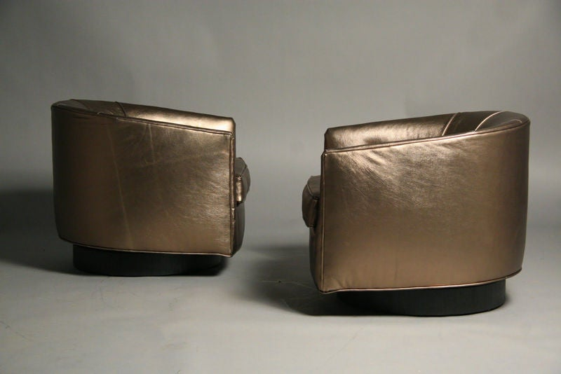 Pair of bronze leather swivel tub chairs by milo baughman for Leather swivel tub chair