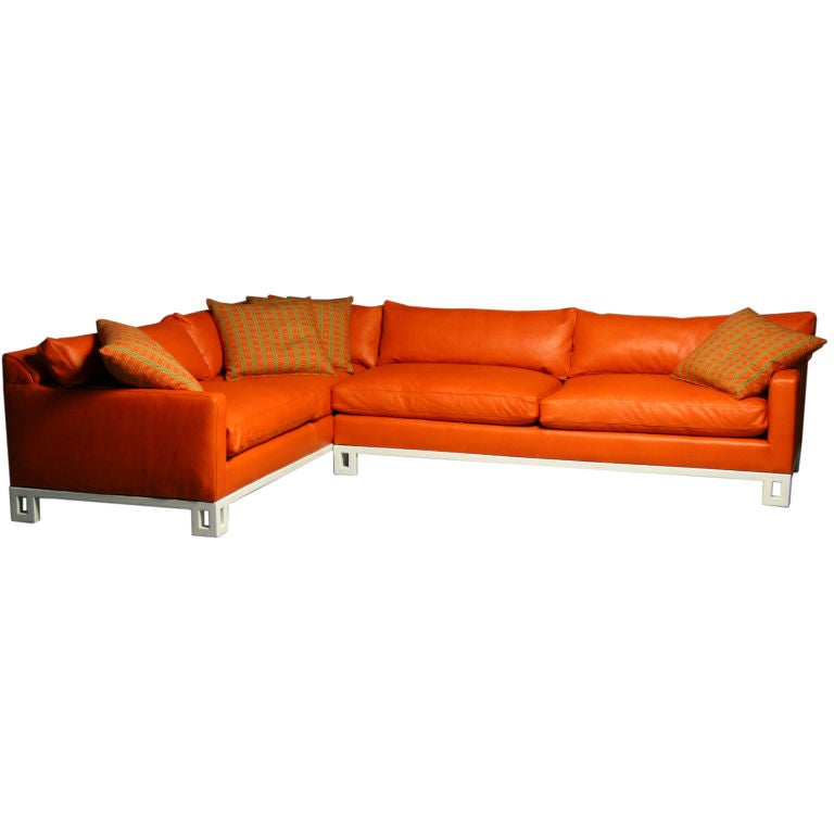 Hollywood regency leather down filled sectional sofa 1  sc 1 st  1stDibs : orange leather sectional sofa - Sectionals, Sofas & Couches