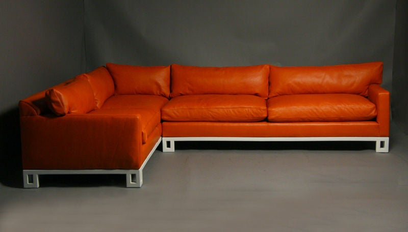 hollywood regency leather down filled sectional sofa image 2