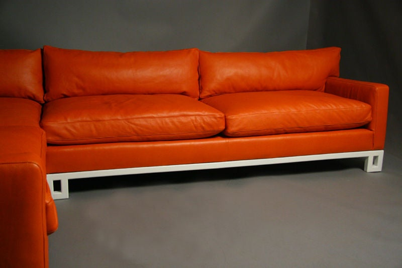 Hollywood Regency Leather Down Filled Sectional Sofa At