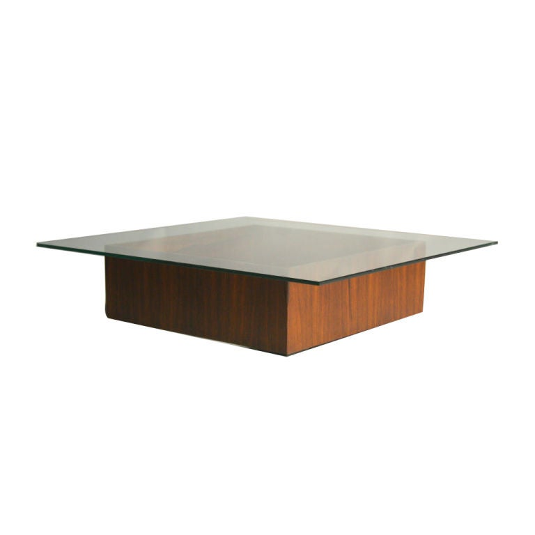 A low brazilian square rosewood coffee table at 1stdibs Low coffee table square