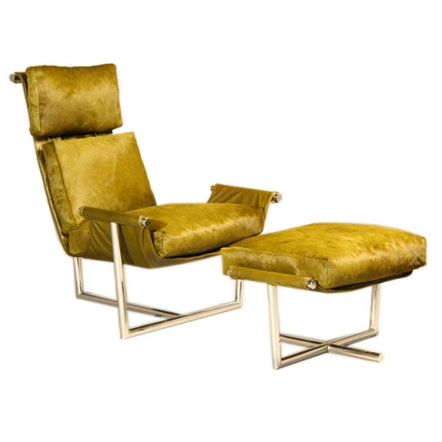 Metropolitan lounge chair and ottoman in pony at 1stdibs