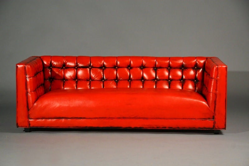 Tufted Red Leather Sofa At 1Stdibs