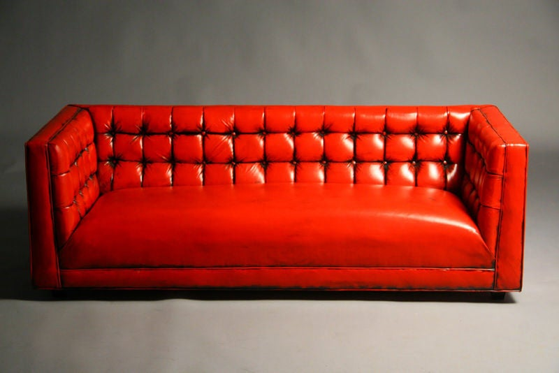 Tufted Red Leather Sofa 3