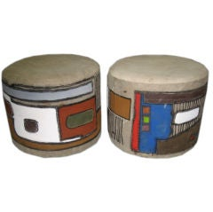 Pair Of Ottomans / Stools / Poufs Signed