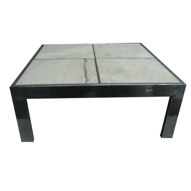 Marble steel square coffee table by pace at 1stdibs for Square marble top coffee table