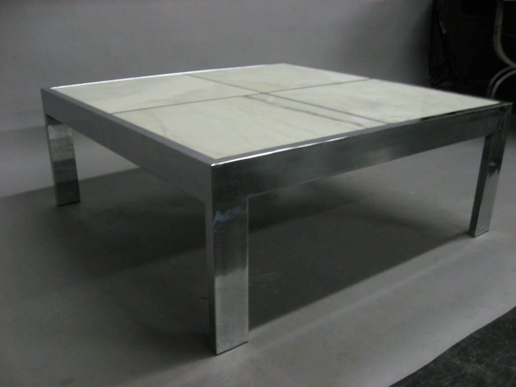 Marble steel square coffee table by pace at 1stdibs Metal square coffee table