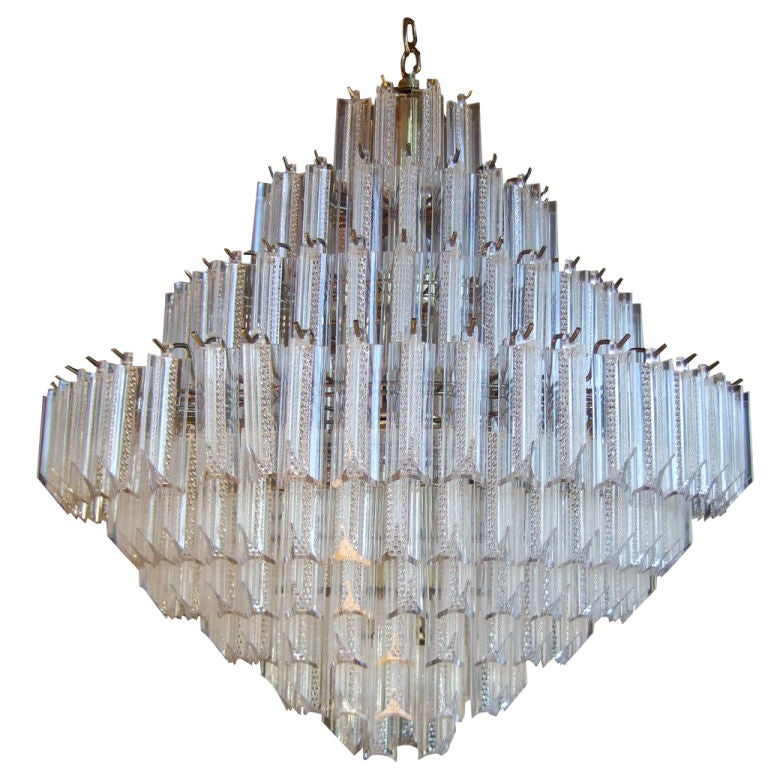 Large Lucite Tiered Chandelier At 1stdibs