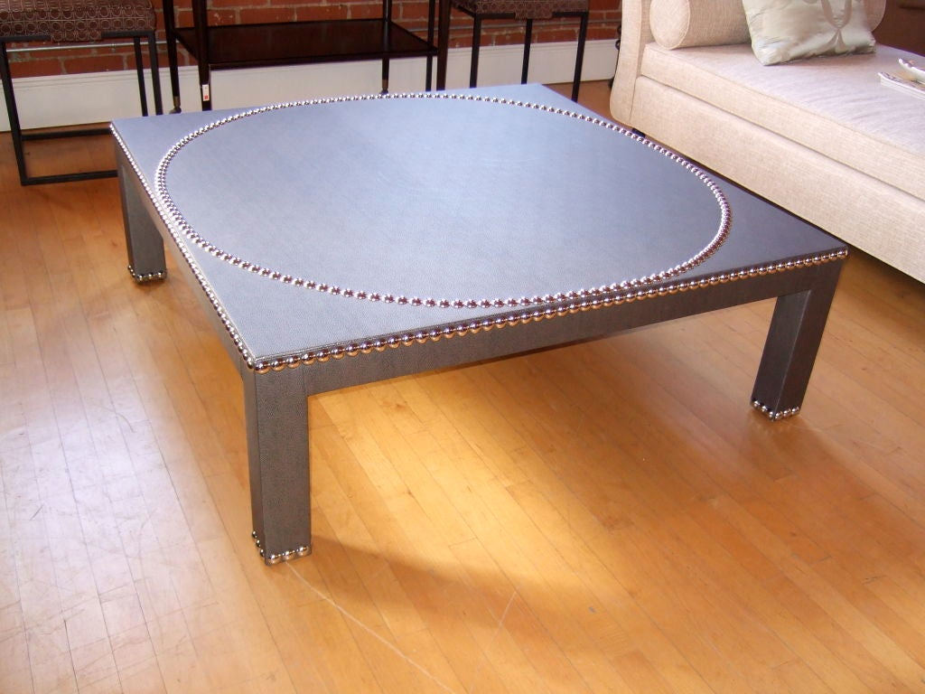 48 studded parsons coffee table at 1stdibs. Black Bedroom Furniture Sets. Home Design Ideas