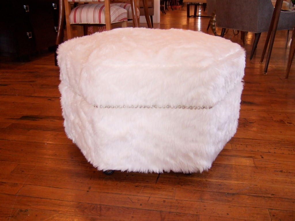 Pair Of Octagonal Faux Fur Ottomans At 1stdibs