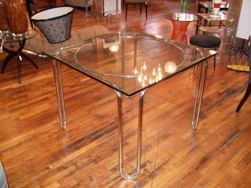 Chrome and glass dining game table at 1stdibs for Dining room game table