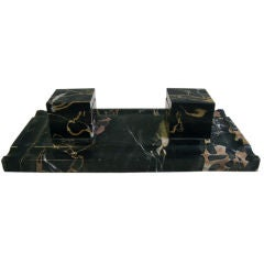 A Portoro Black and Gold Marble Inkwell Desk set