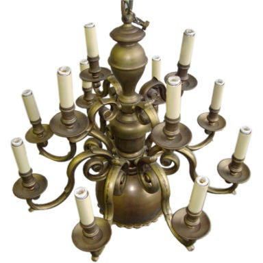 A Brass Twelve Light Chandelier