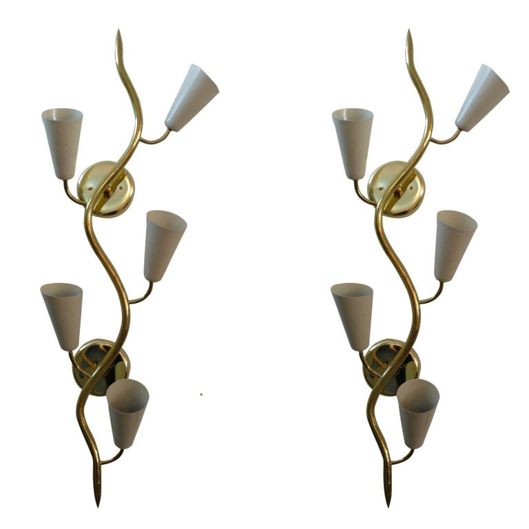 Wall Sconces With Vines : Italian Brass Vine Sconces at 1stdibs