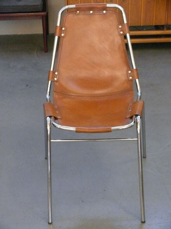 Charlotte Perriand leather side chair wtih chrome base.<br /> The net price is listed below.
