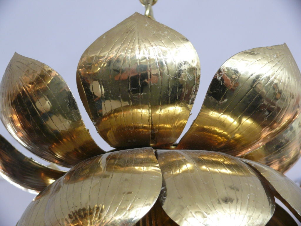 20th Century Brass Lotus Lights For Sale