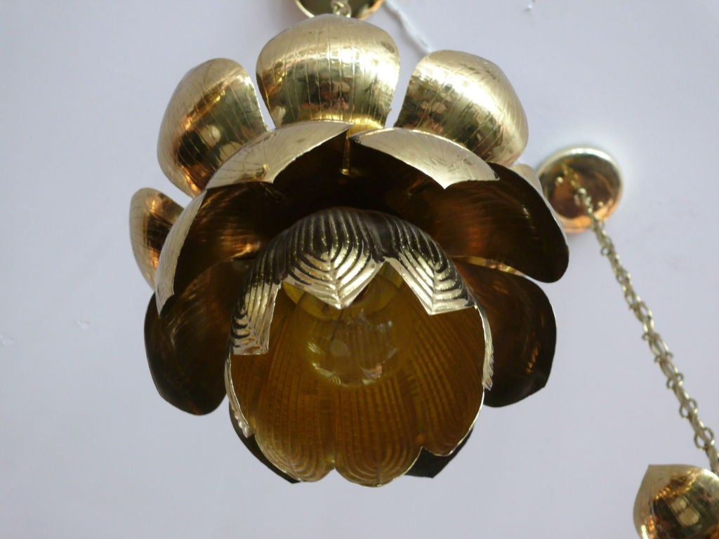 Brass Lotus Lights For Sale 1