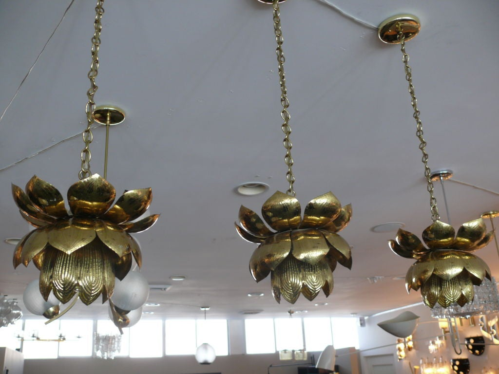 Brass Lotus Lights For Sale 5