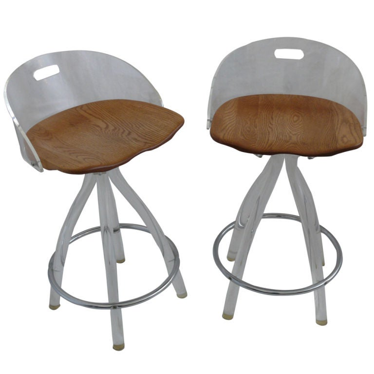 Lucite and Oak Bar Stools at 1stdibs