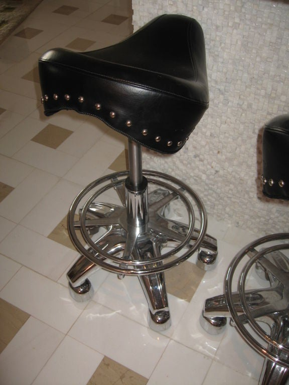 Set Of Four Contemporary Motorcycle Seat Bar Stools Image 3