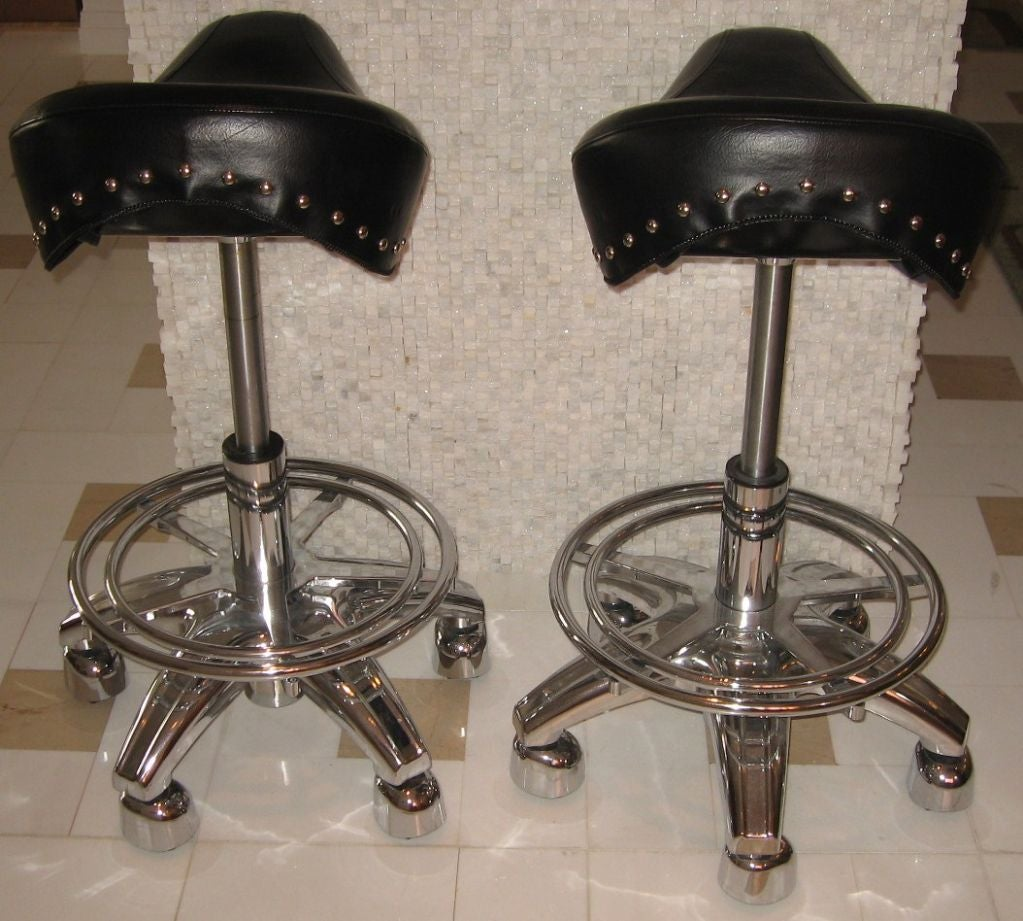 Set Of Four Contemporary Motorcycle Seat Bar Stools At 1stdibs