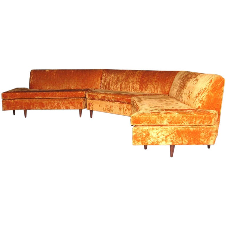 Mid Century Modern Three Piece Sectional Sofa