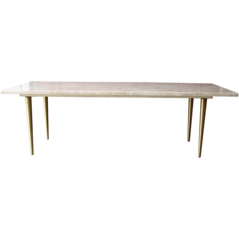 Mid Century Modern Travertine Marble Top Coffee Table At 1stdibs