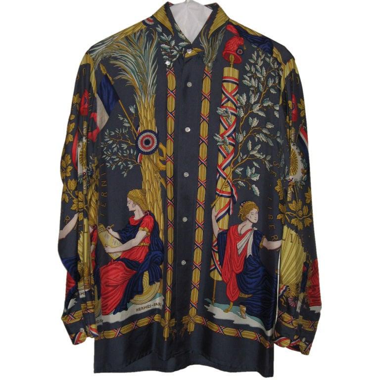 1f72f7d27 ... Hermes Silk Shirt: Hermes Vintage Silk Men's Shirt At 1stdibs
