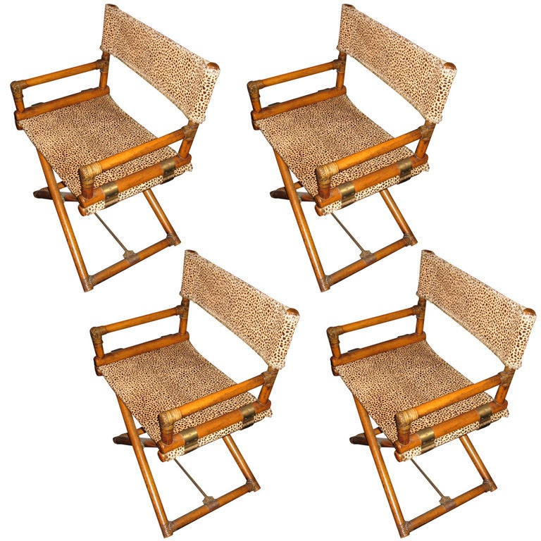 Set of Four Vintage McGuire Captain's Chairs at 1stdibs