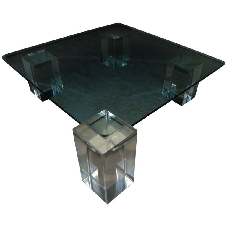 Superb Square Clear Lucite And Glass Coffee Table At 1stdibs