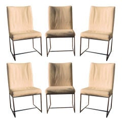 Set of Six Milo Baughman Architectural Chrome  Chairs