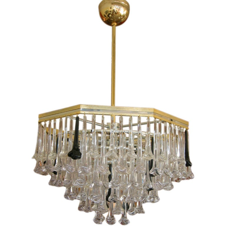 Cascading hand blown murano glass chandelier at 1stdibs Blown glass chandelier