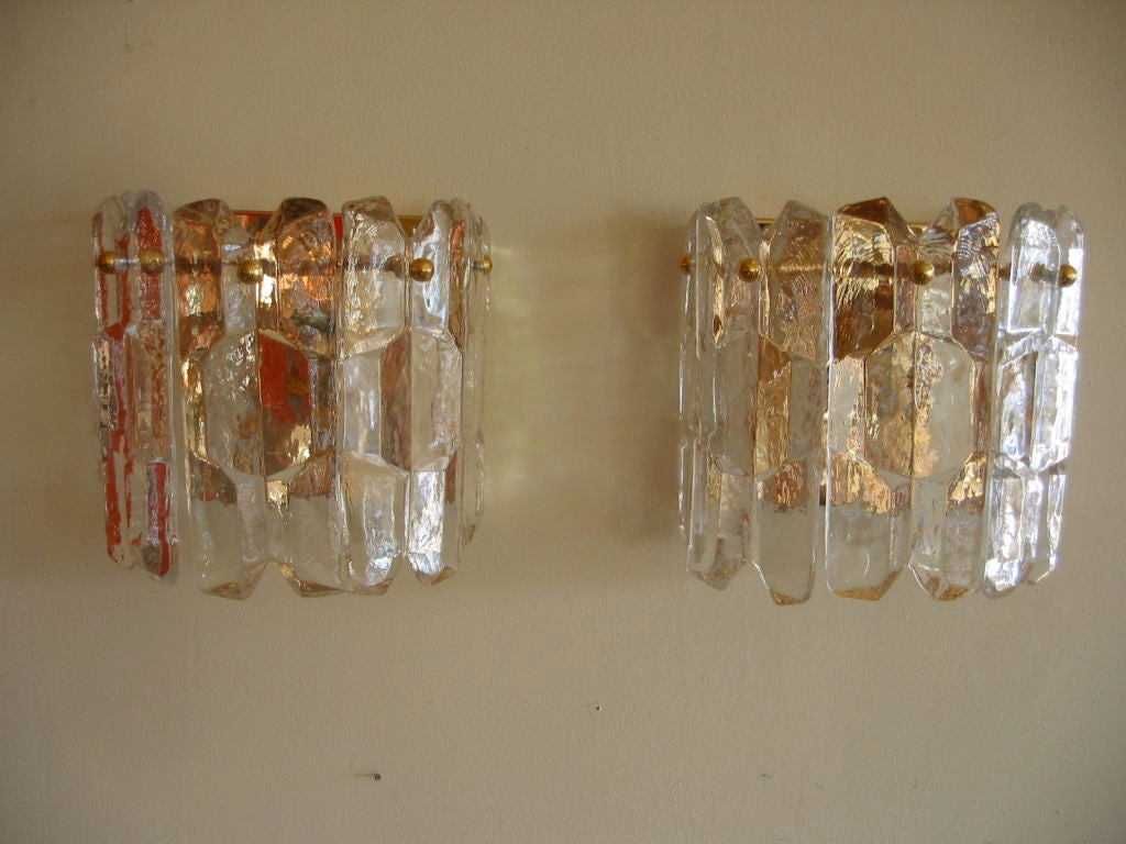Exquisite Pair of Austrian Ice Crystal and Rose Gold Sconces at 1stdibs