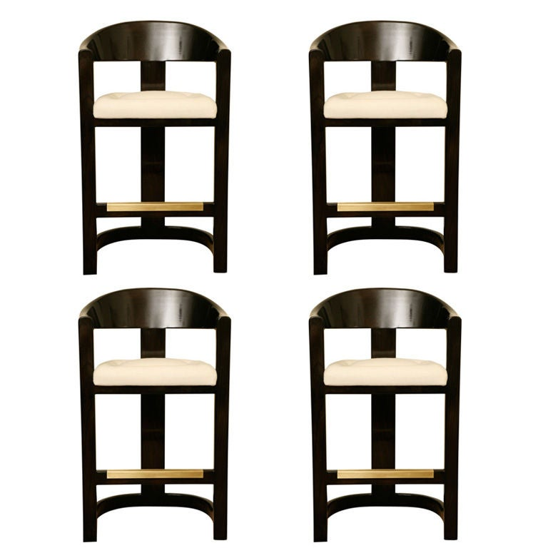 Set Of Four Karl Springer Quot Onassis Quot Stools At 1stdibs