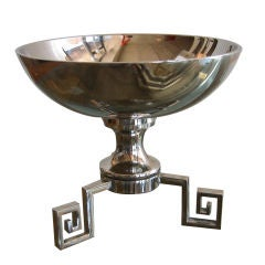 Nickel Silvered Greek Key Pedestal Dish SALE