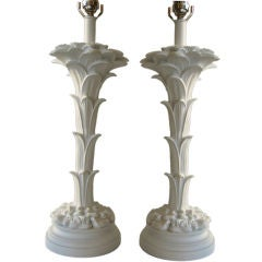 Pair of White Plaster Lamps in the style of Serge Roche