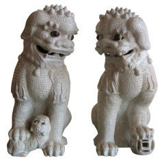Monumental Pair of Ceramic Foo Dogs