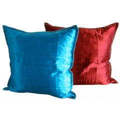 Italian Silk Anichini Throw Pillows Pair Of
