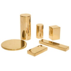 Collection of Six Solid Polished Brass Architectural Elements