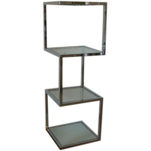Chrome Cantilevered Four Tiered Cubist Etagere