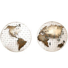 "Pair Curtis Jere Convex ""Hemispheres"" Wall Sculptures"