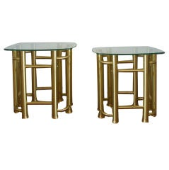 Pair of Brass Side Tables with Glass Tops